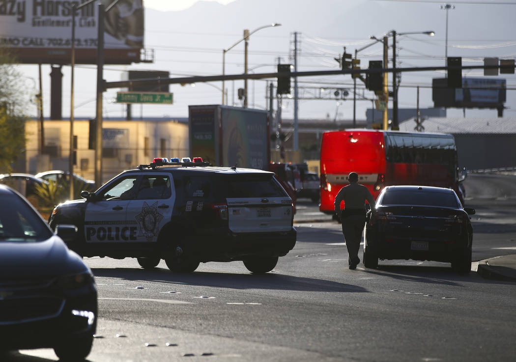 Las Vegas police outside of the Trump International after a suspect started a small fire in a bathroom at the hotel in Las Vegas on Wednesday, April 26, 2017. Chase Stevens Las Vegas Review-Journa ...