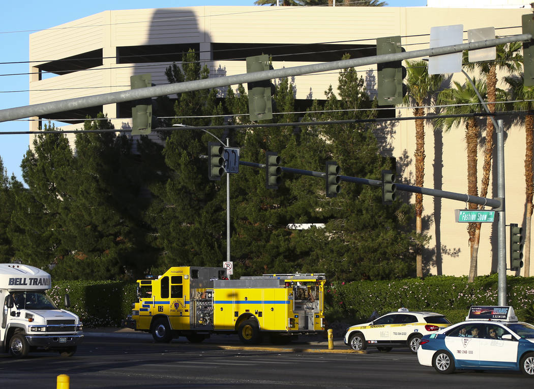 A Clark County Fire Department fire engine leaves the Trump International after a suspect started a small fire in a bathroom at the hotel in Las Vegas on Wednesday, April 26, 2017. Chase Stevens L ...