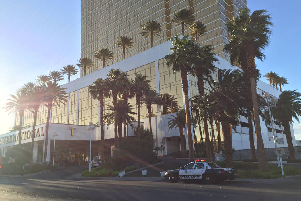 Authorities investigate a a small bathroom fire at Trump International in Las Vegas on Wednesday, April 26, 2017. (Chade Stevens/Las Vegas Review-Journal)