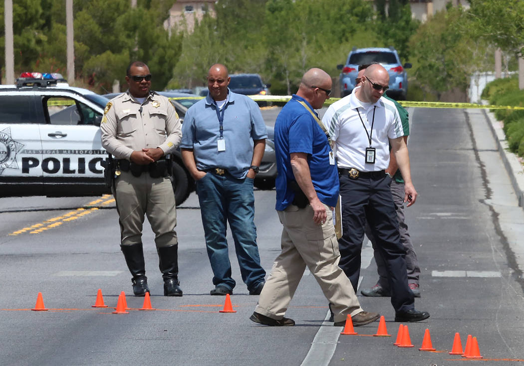 Metro police at the scene of an accident where a juvenile pedestrian was critically injured in a crash at Desert Sunrise Road and Vista Run Drive in Summerlin on Thursday, april 27, 2017. Bizuayeh ...