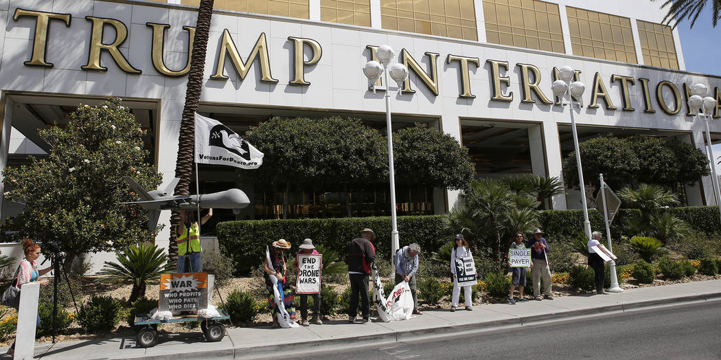 Anti-drone protesters in front of the Trump International Hotel on Thursday, April 27, 2017, in Las Vegas. Christian K. Lee Las Vegas Review-Journal @chrisklee_jpeg