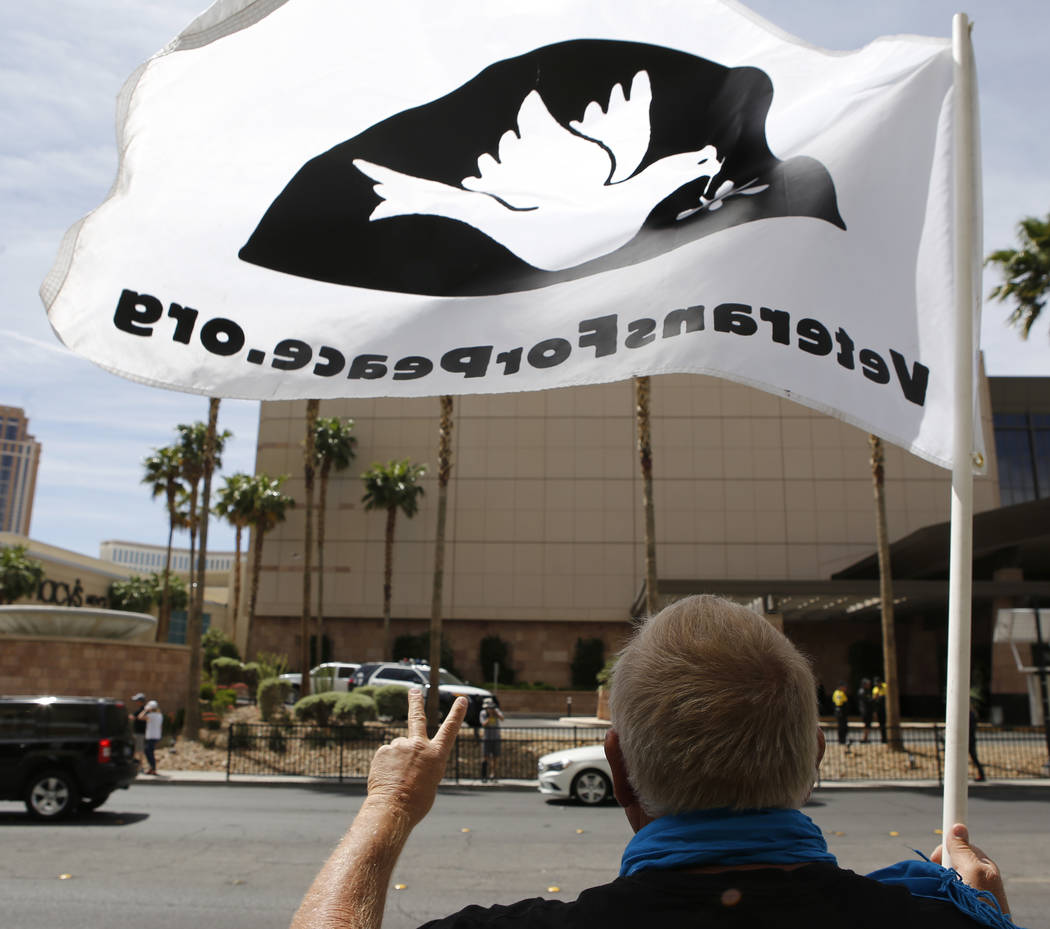 Anti-drone protesters at the Trump International Hotel on Thursday, April 27, 2017, in Las Vegas. Christian K. Lee Las Vegas Review-Journal @chrisklee_jpeg