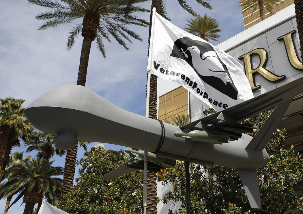 A large drone replica during a drone warfare protest at the Trump International Hotel on Thursday, April 27, 2017, in Las Vegas. Christian K. Lee Las Vegas Review-Journal @chrisklee_jpeg