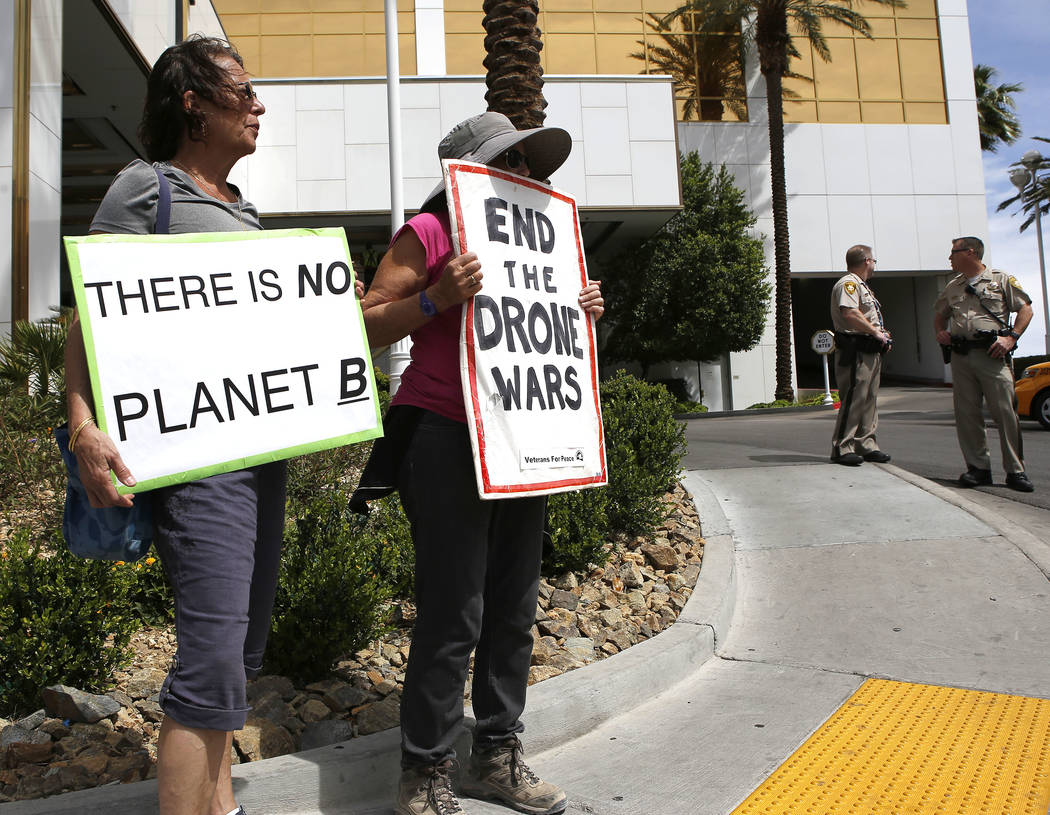 Anti-drone protesters Leila Kirkconnell, from left, and Eleanor Levine at the Trump International Hotel on Thursday, April 27, 2017, in Las Vegas. Christian K. Lee Las Vegas Review-Journal @chrisk ...