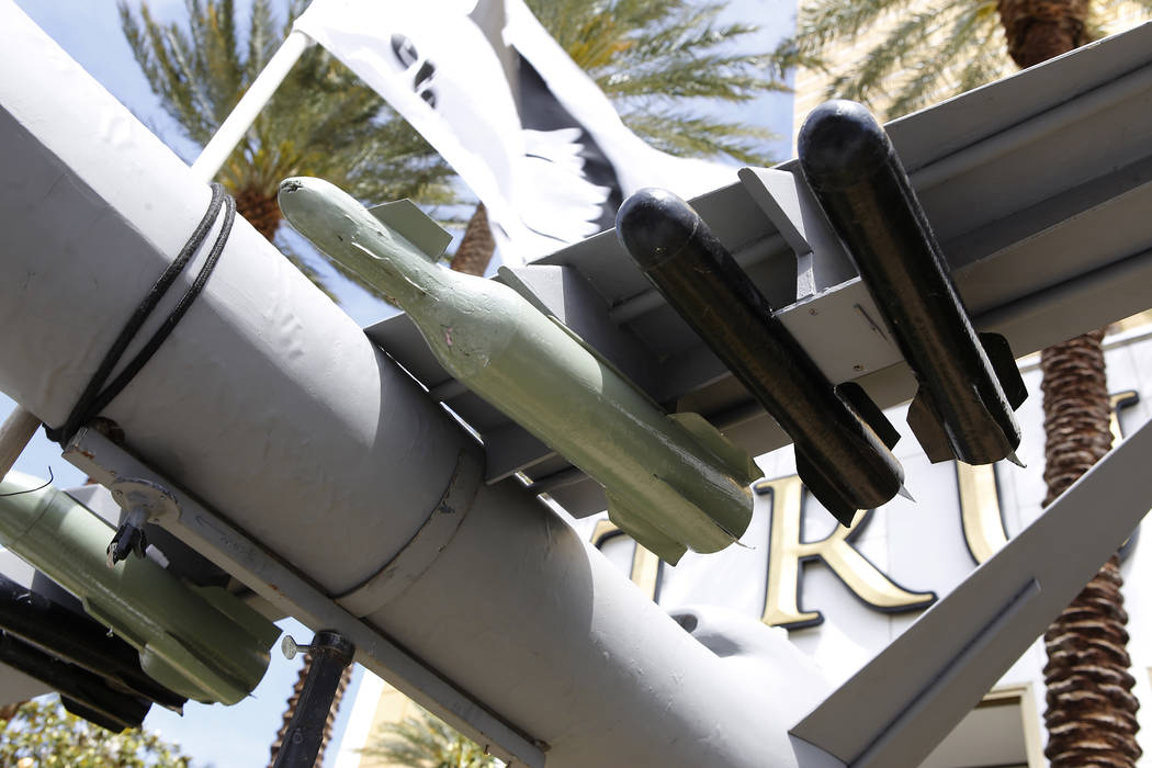 A replica of a drone missile during a drone warfare protest at the Trump International Hotel on Thursday, April 27, 2017, in Las Vegas. Christian K. Lee Las Vegas Review-Journal @chrisklee_jpeg