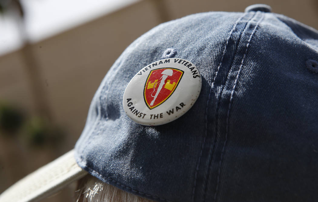 An anti-drone protester wears a pin on his hat at the Trump International Hotel on Thursday, April 27, 2017, in Las Vegas. Christian K. Lee Las Vegas Review-Journal @chrisklee_jpeg