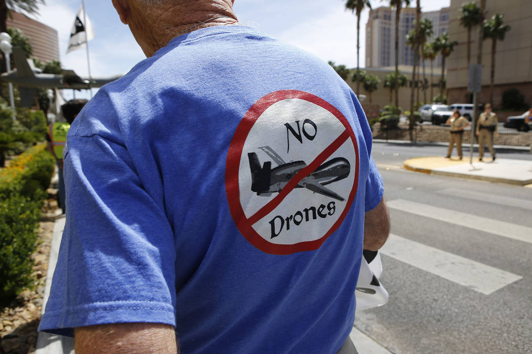 An anti-drone protester wears a no drone shirt at the Trump International Hotel on Thursday, April 27, 2017, in Las Vegas. Christian K. Lee Las Vegas Review-Journal @chrisklee_jpeg