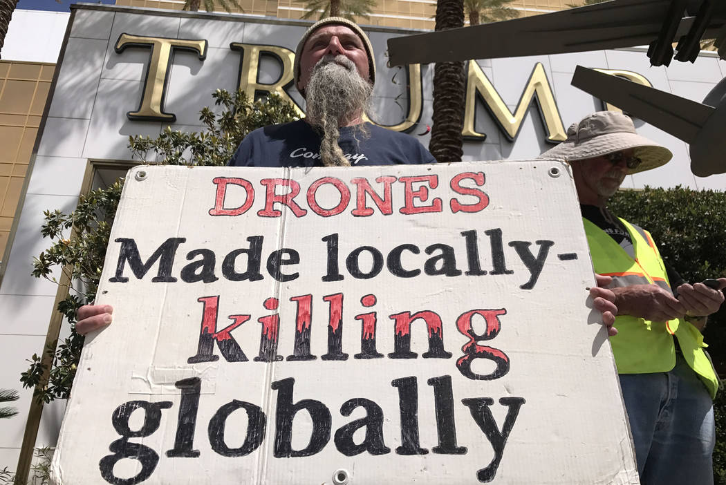 Francis Pauc during a drone warfare protest at Trump International Las Vegas, Thursday, March 27, 2017. Keith Rogers Las Vegas Review-Journal