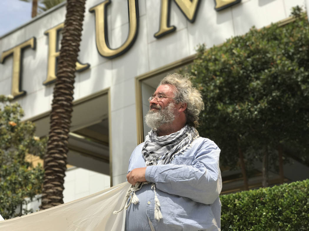 Brian Terrell, co-coordinator of Voices for Creative Nonviolence during a drone warfare protest at Trump International Las Vegas, Thursday, March 27, 2017. Keith Rogers Las Vegas Review-Journal