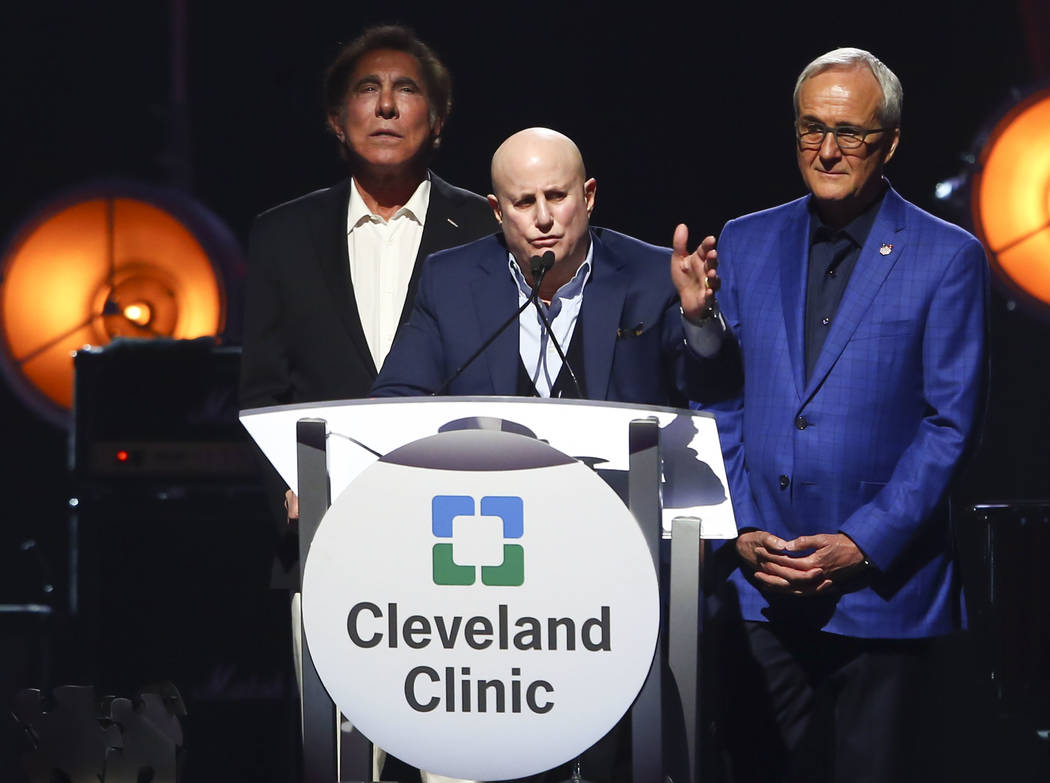 Honoree Ronald O. Perelman, chairman and CEO of MacAndrews & Forbes Inc., center, speaks alongside business magnate and CEO of Wynn Resorts Steve Wynn, left, and Larry Ruvo, co-founder and cha ...