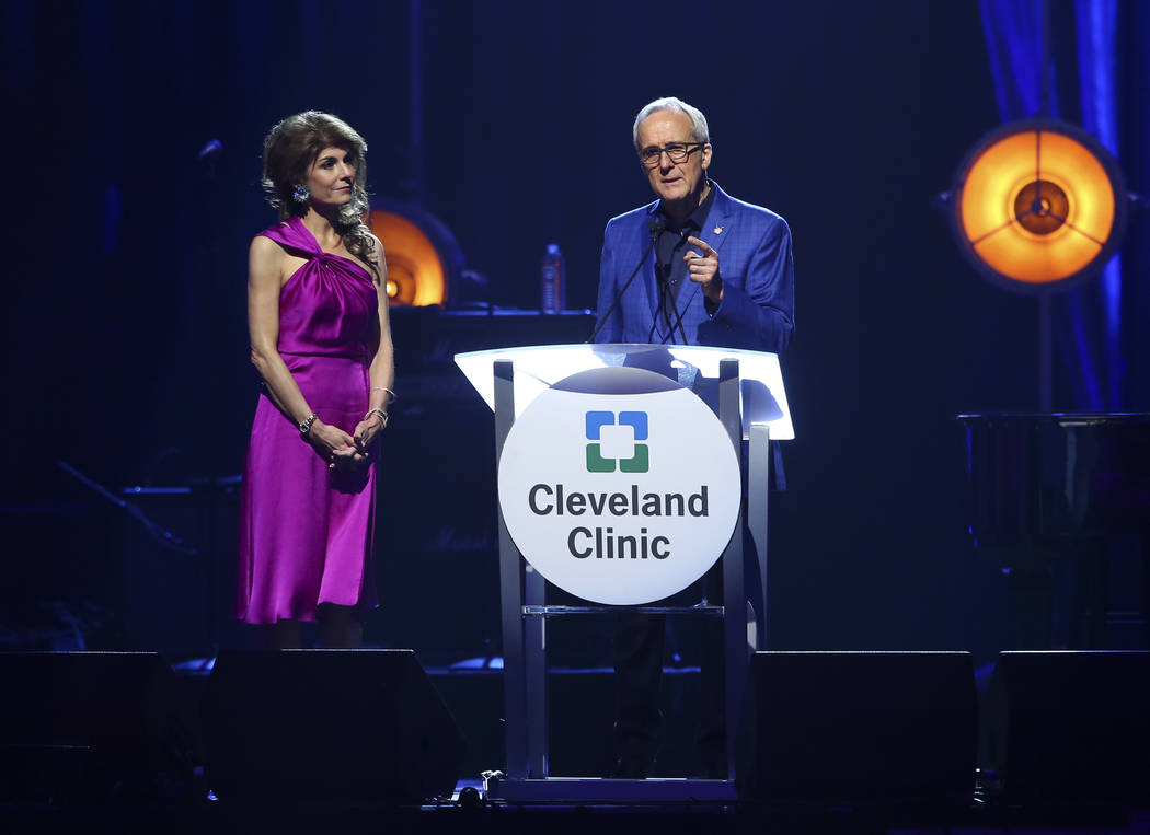 Larry Ruvo, co-founder and chairman of Keep Memory Alive, speaks alongside his wife Camille, co-founder and vice-chairman of Keep Memory Alive, during the nonprofit's 21st annual Power of Love gal ...