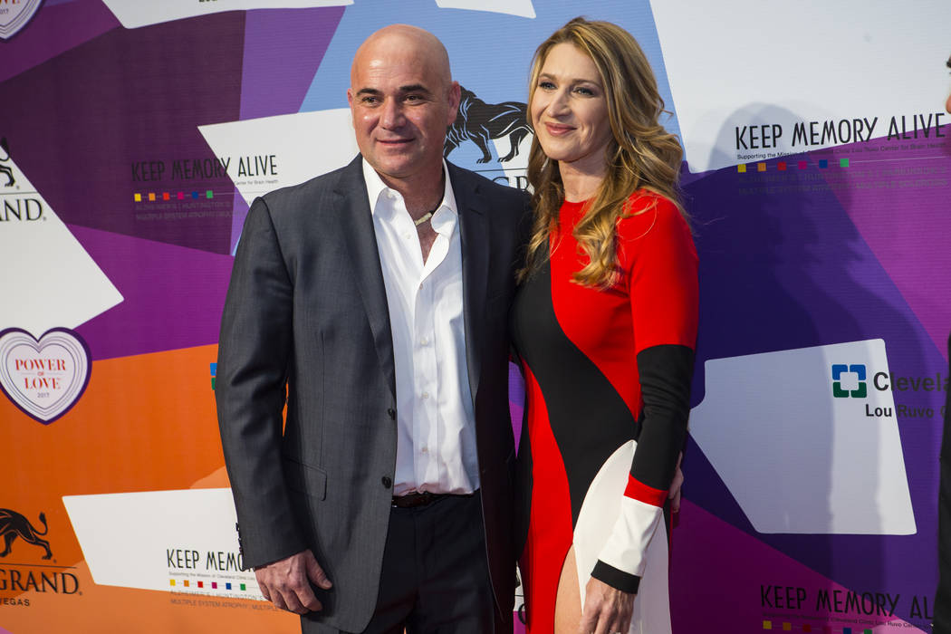 Tennis greats Andre Agassi, left, with wife Stefanie Graf on the red carpet before Keep Memory Alive's 21st annual Power of Love gala, raising money for Cleveland Clinic Lou Ruvo Center for Brain  ...