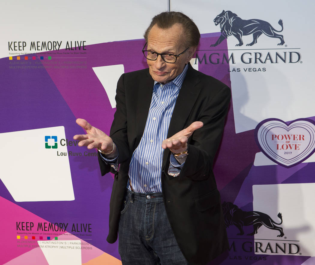 Media personality Larry King on the red carpet before Keep Memory Alive's 21st annual Power of Love gala, raising money for Cleveland Clinic Lou Ruvo Center for Brain Health's programs and service ...