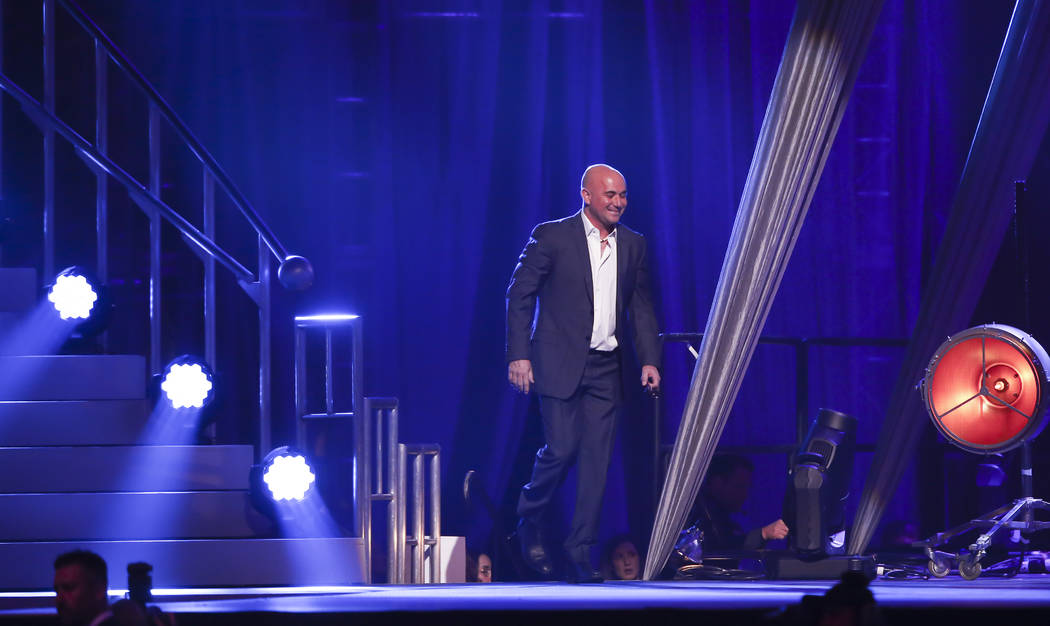 Honoree Andre Agassi, a tennis great and Las Vegas resident, takes the stage during Keep Memory Alive's 21st annual Power of Love gala, raising money for Cleveland Clinic Lou Ruvo Center for Brain ...