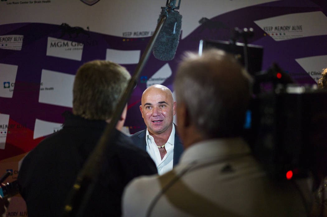 Tennis great Andre Agassi on the red carpet before Keep Memory Alive's 21st annual Power of Love gala, raising money for Cleveland Clinic Lou Ruvo Center for Brain Health's programs and services,  ...