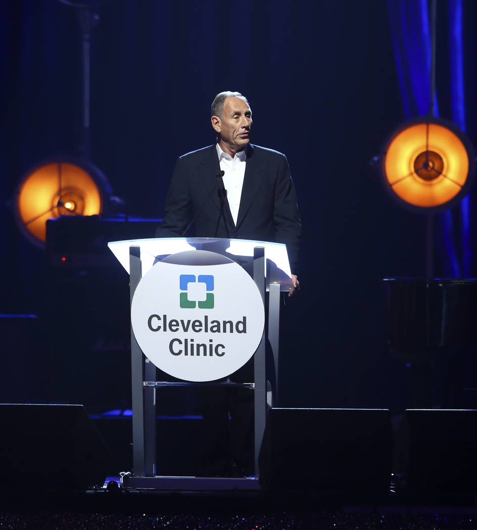 Toby Cosgrove, President and CEO of Cleveland Clinic, speaks during Keep Memory Alive's 21st annual Power of Love gala, raising money formCleveland Clinic Lou Ruvo Center for Brain Health's progra ...