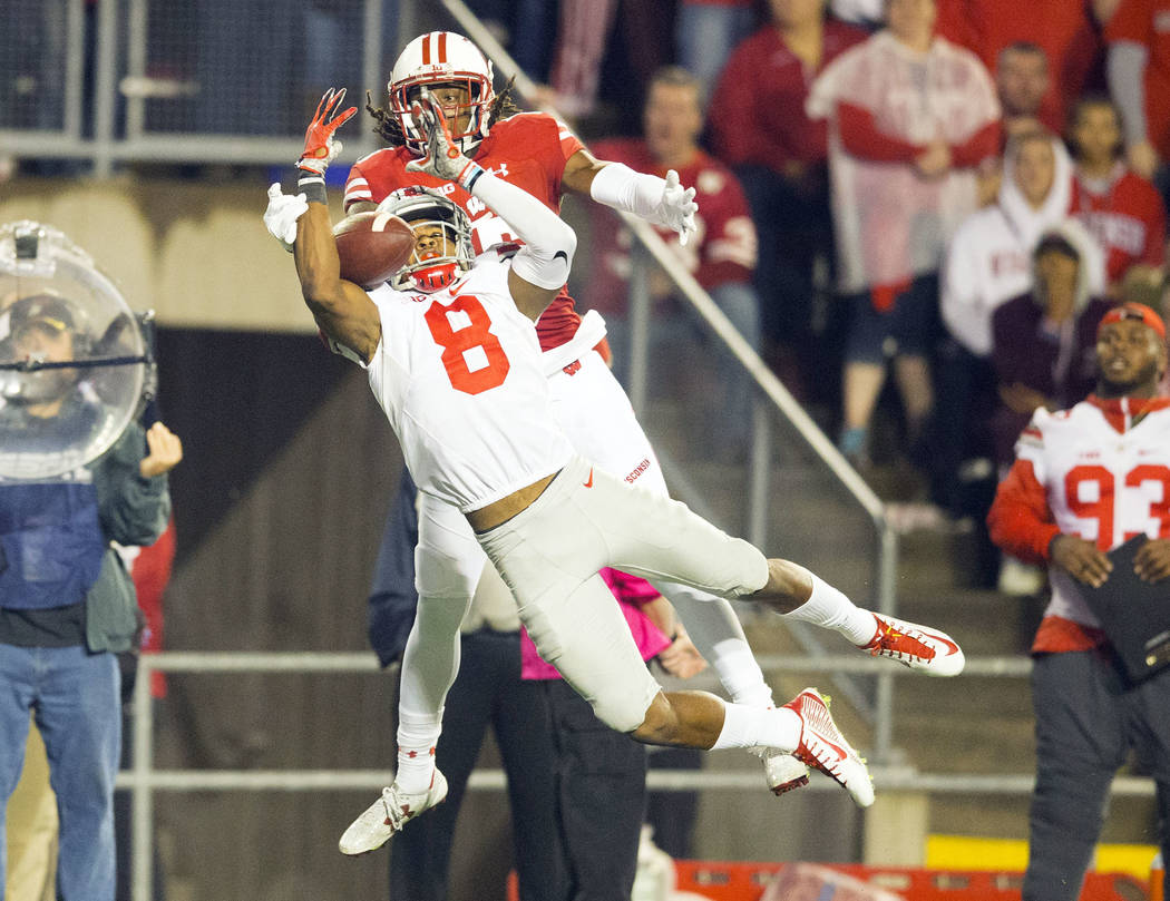 Oct 15, 2016; Madison, WI, USA;  Ohio State Buckeyes cornerback Gareon Conley (8) breaks up the pass intended for Wisconsin Badgers wide receiver Robert Wheelwright (15) during the fourth quarter  ...