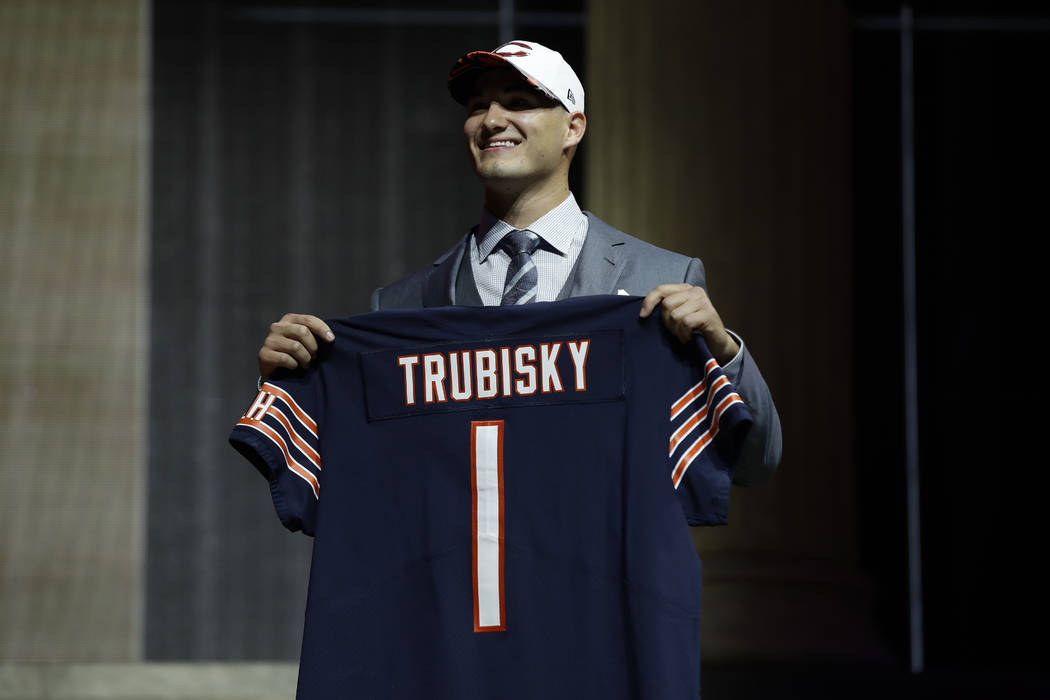 North Carolina's Mitch Trubisky poses after being selected by the Chicago Bears during the first round of the 2017 NFL football draft, Thursday, April 27, 2017, in Philadelphia. (AP Photo/Matt Rourke)