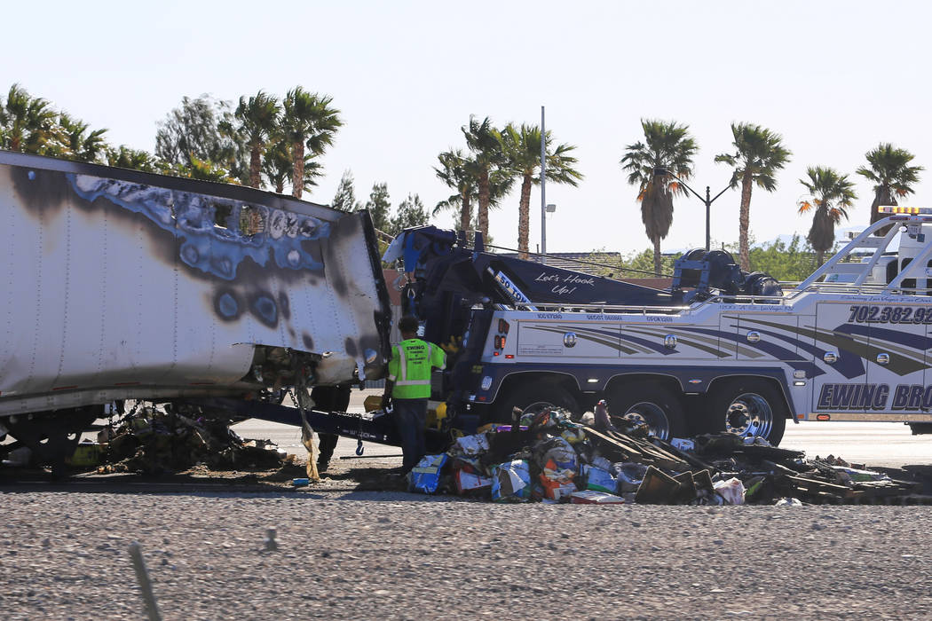 The remains of a semi trailer that caught on fire is from southbound I-15 south of the Durango Drive exit in Las Vegas on Friday, April 28, 2017. Brett Le Blanc Las Vegas Review-Journal @bleblancphoto