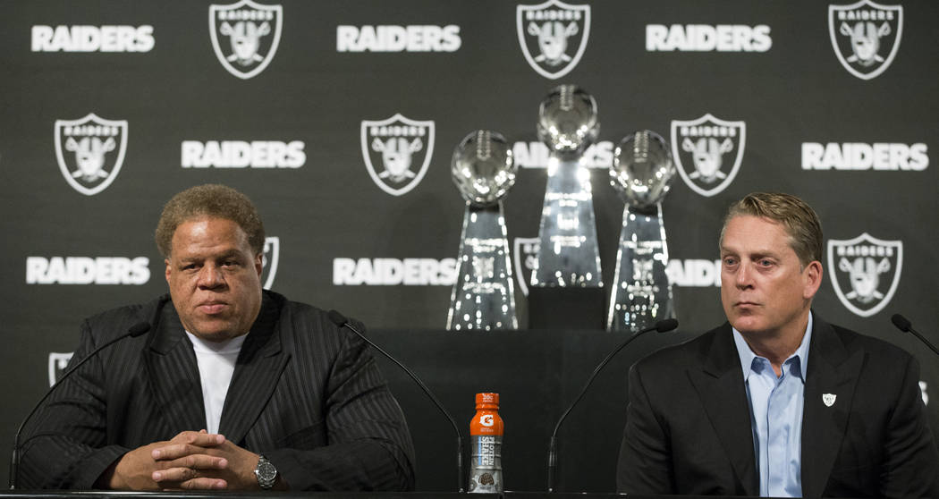 Oakland Raiders General Manager Reggie McKenzie, left, and head coach Jack Del Rio during a press conference on their team's first round pick in the NFL Draft at the Oakland Raiders Headquarters o ...