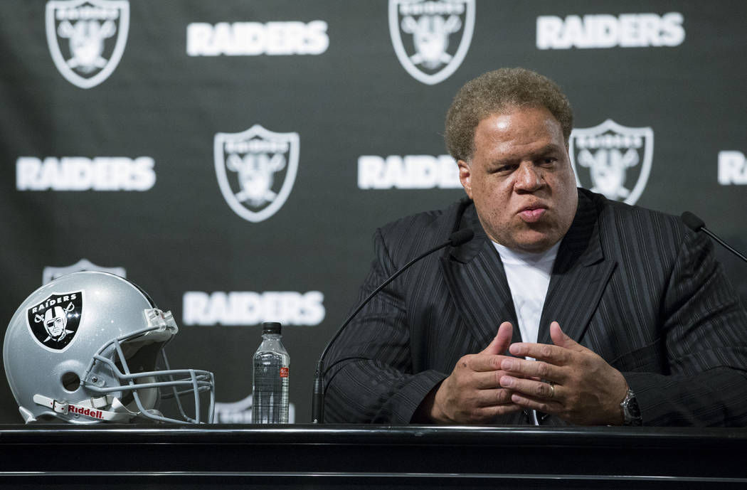 Oakland Raiders General Manager Reggie McKenzie during a press conference following their team's first round pick in the NFL Draft at the Oakland Raiders Headquarters on Thursday, April 27, 2017,  ...