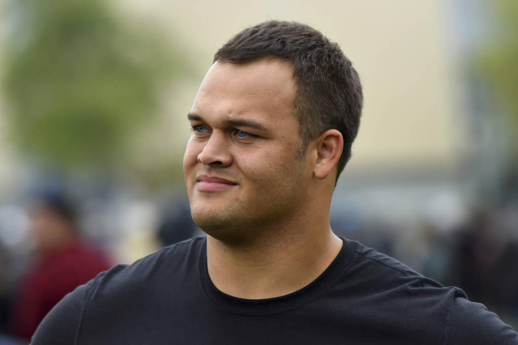 UCLA defensive tackle Eddie Vanderdoes attends UCLA's pro day for NFL draft prospects in Los Angeles, Tuesday, March 21, 2017. (AP Photo/Michael Owen Baker)