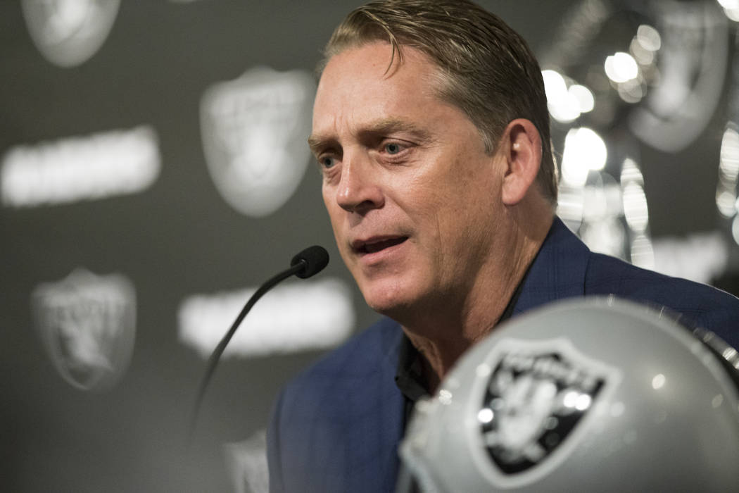 Oakland Raiders head coach Jack Del Rio during a press conference with first round pick Gareon Conley of Ohio State, not pictured, during a press conference at the Raiders Headquarters on Friday,  ...