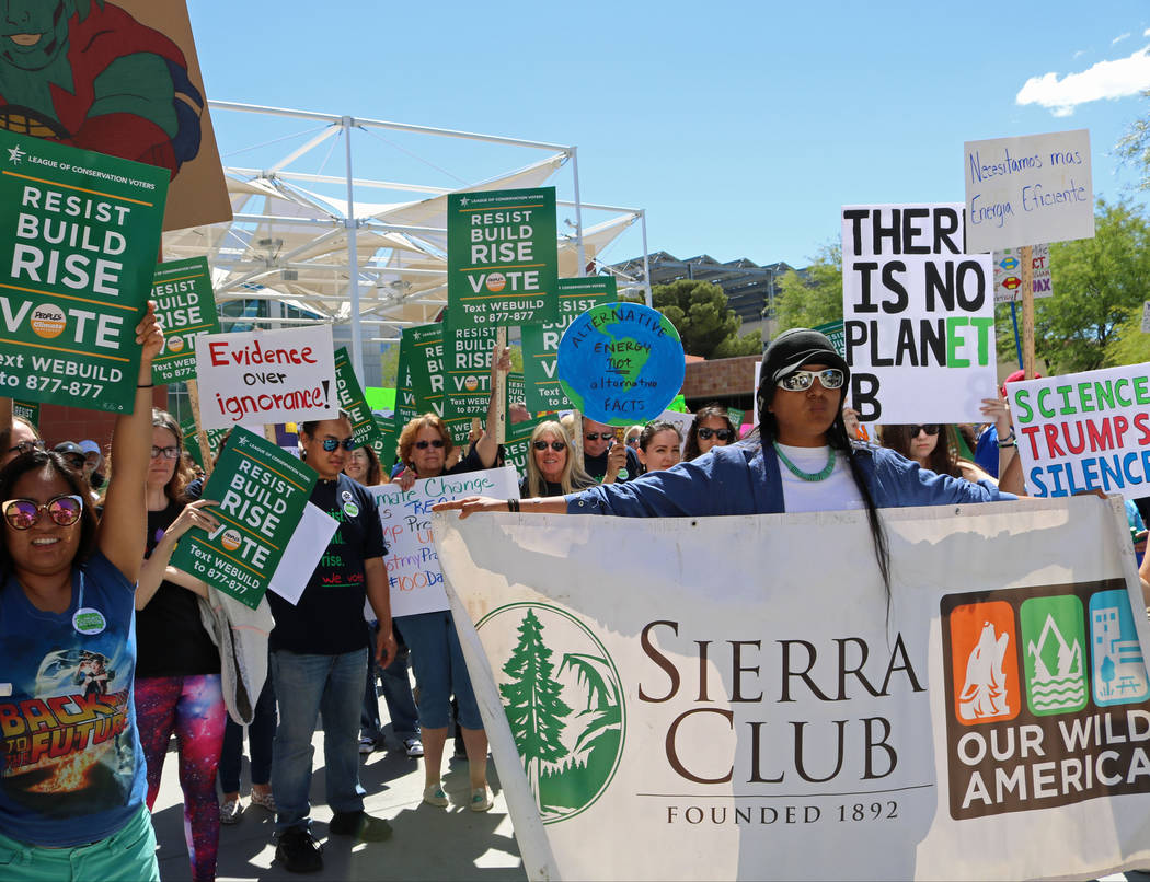 The crowd lines up for the People's Climate March at UNLV, Saturday, April 29, 2017. Gabriella Benavidez Las Vegas Review-Journal @gabbydeebee