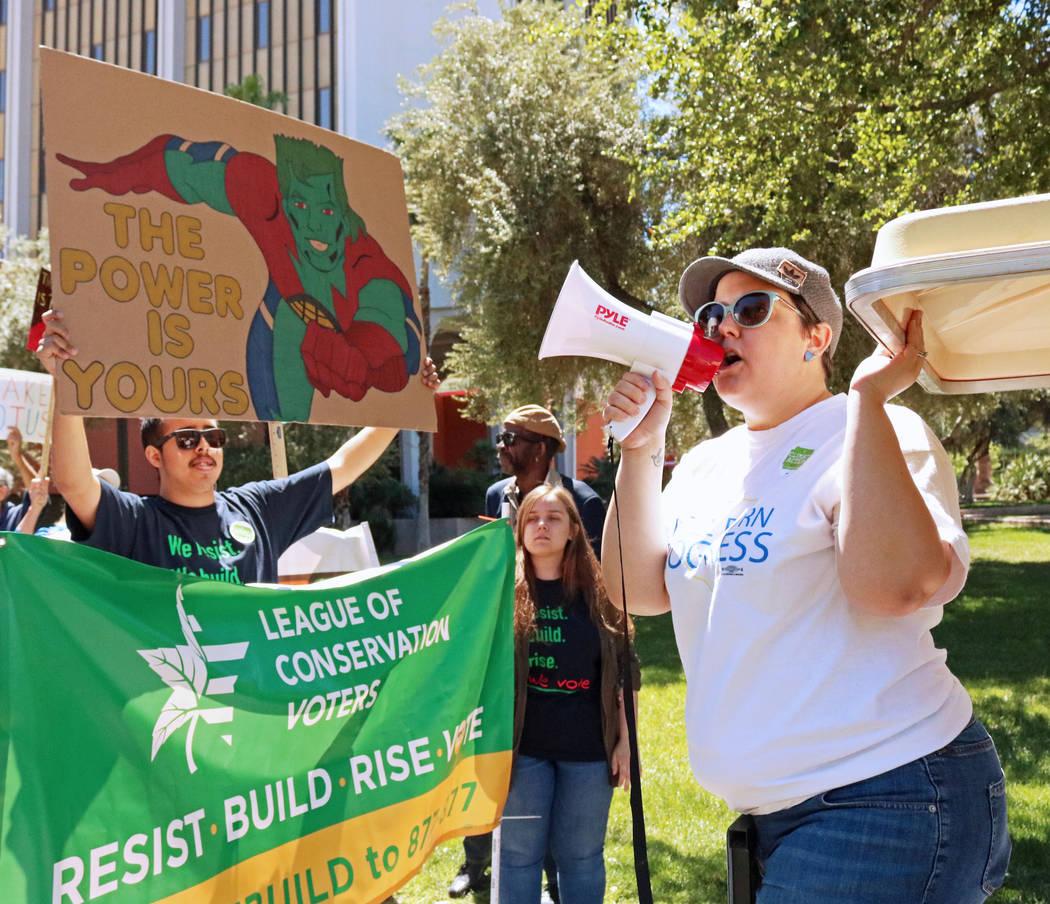 Battle Born Progress executive director Annette Magnus, right, leads a chant during the People's Climate March at the UNLV campus, Saturday, April 29, 2017. Gabriella Benavidez Las Vegas Review-Jo ...