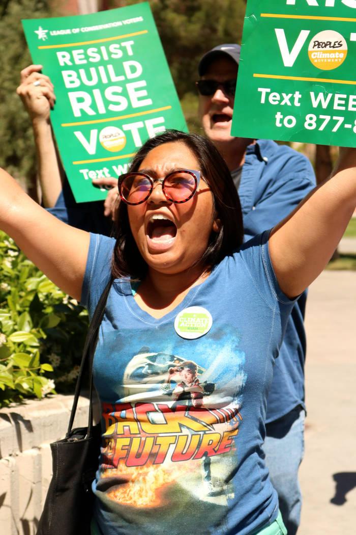 Cielo Gumabon chants passionately during the People's Climate March at the UNLV campus, Saturday, April 29, 2017. Gabriella Benavidez Las Vegas Review-Journal @gabbydeebee