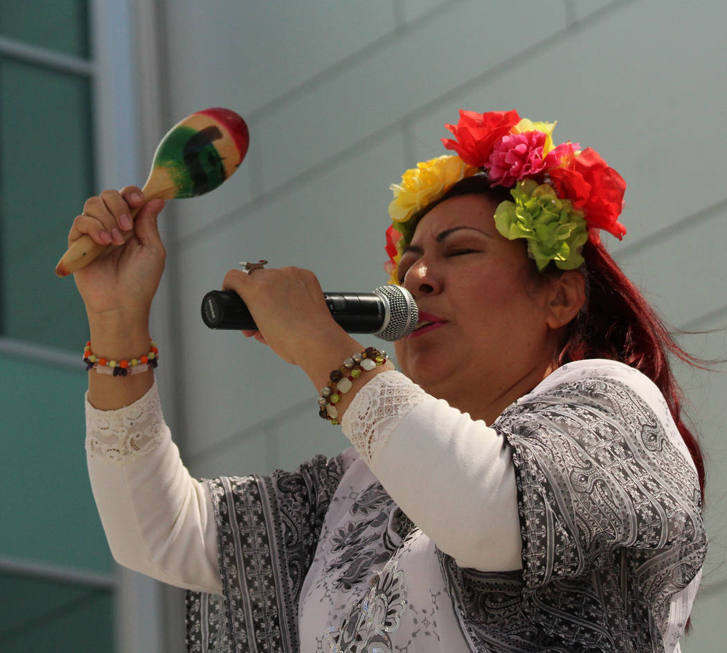 Heidi May leads a Mayan prayer in English before the People's Climate March at UNLV starts, Saturday, April 29, 2017. Gabriella Benavidez Las Vegas Review-Journal @gabbydeebee