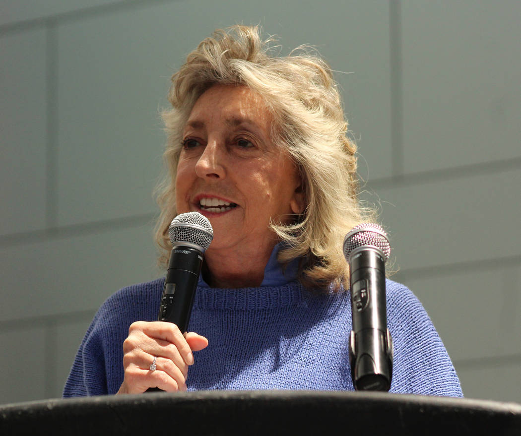U.S. Representative Dina Titus, D-Nev., speaks to the crowd after the march, Saturday, April 29, 2017. Titus was a guest speaker for the People's Climate March at UNLV. Gabriella Benavidez Las Veg ...