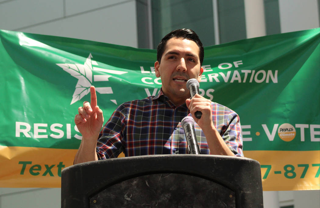Nevada Assemblyman Nelson Araujo, D-Las Vegas, speaks to the crowd after the march, Saturday, April 29, 2017. Arajuo was a guest speaker for the People's Climate March at UNLV. Gabriella Benavidez ...