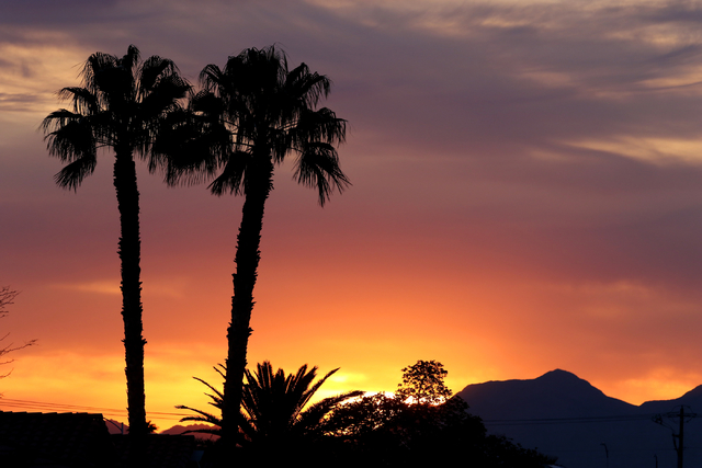 The sun rises over a neighborhood in Summerlin on Monday, April 4, 2016. This week will be warm and sunny in the Las Vegas valley. (Ronda Churchill/Las Vegas Review-Journal)