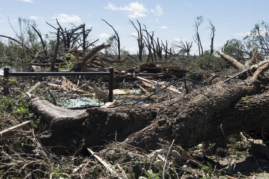 Fallen trees and debris cover the ground Sunday, April 30, 2017, in Canton, Texas. Deadly severe storms including tornadoes swept through several small towns in East Texas, leaving a trail of over ...