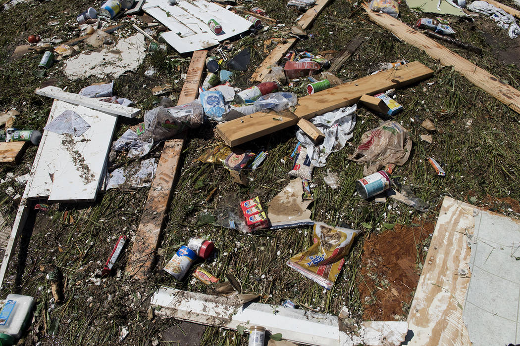 Debris lies on the ground Sunday, April 30, 2017, in Canton, Texas. Severe storms including tornadoes swept through several small towns in East Texas, killing several and leaving a trail of overtu ...