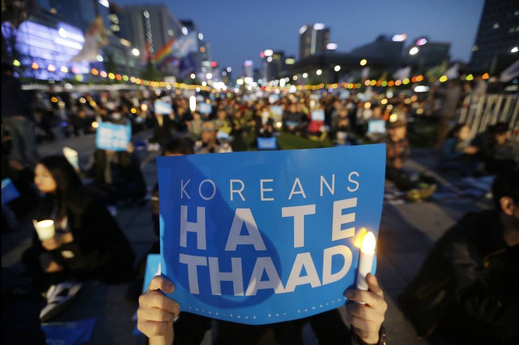 South Korean protesters stage a rally to oppose a plan to deploy the advanced U.S. missile defense system called Terminal High-Altitude Area Defense, or THAAD, near U.S. Embassy in Seoul, South Ko ...