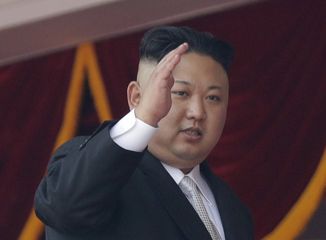 FILE - In this April 15, 2017 file photo, North Korean leader Kim Jong Un waves during a military parade in Pyongyang, North Korea to celebrate the 105th birth anniversary of Kim Il Sung, the coun ...