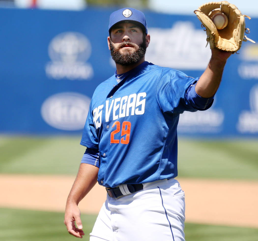 Las Vegas 51s pitcher Chasen Bradford catches the ball against Albuquerque Isotopes in the ninth inning at Cashman Field in Las Vegas, Sunday, April 30, 2017. Elizabeth Brumley Las Vegas Review-Jo ...