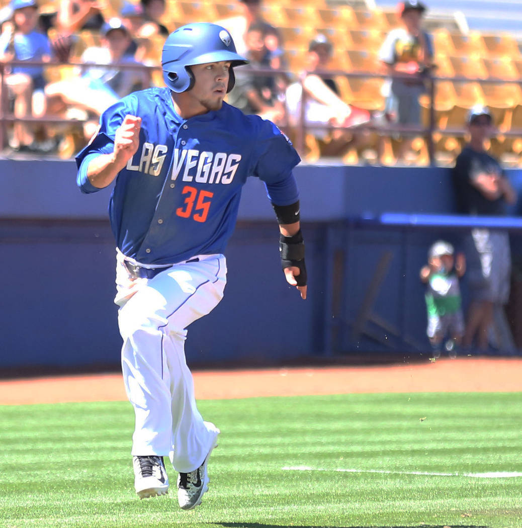 Las Vegas 51s center fielder Arnaldo Berrios runs the bases against Albuquerque Isotopes in the seventh inning at Cashman Field in Las Vegas, Sunday, April 30, 2017. Elizabeth Brumley Las Vegas Re ...