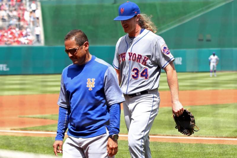 Apr 30, 2017; Washington, DC, USA; New York Mets starting pitcher Noah Syndergaard (34) walks off the field after an apparent injury against the Washington Nationals in the second inning at Nation ...