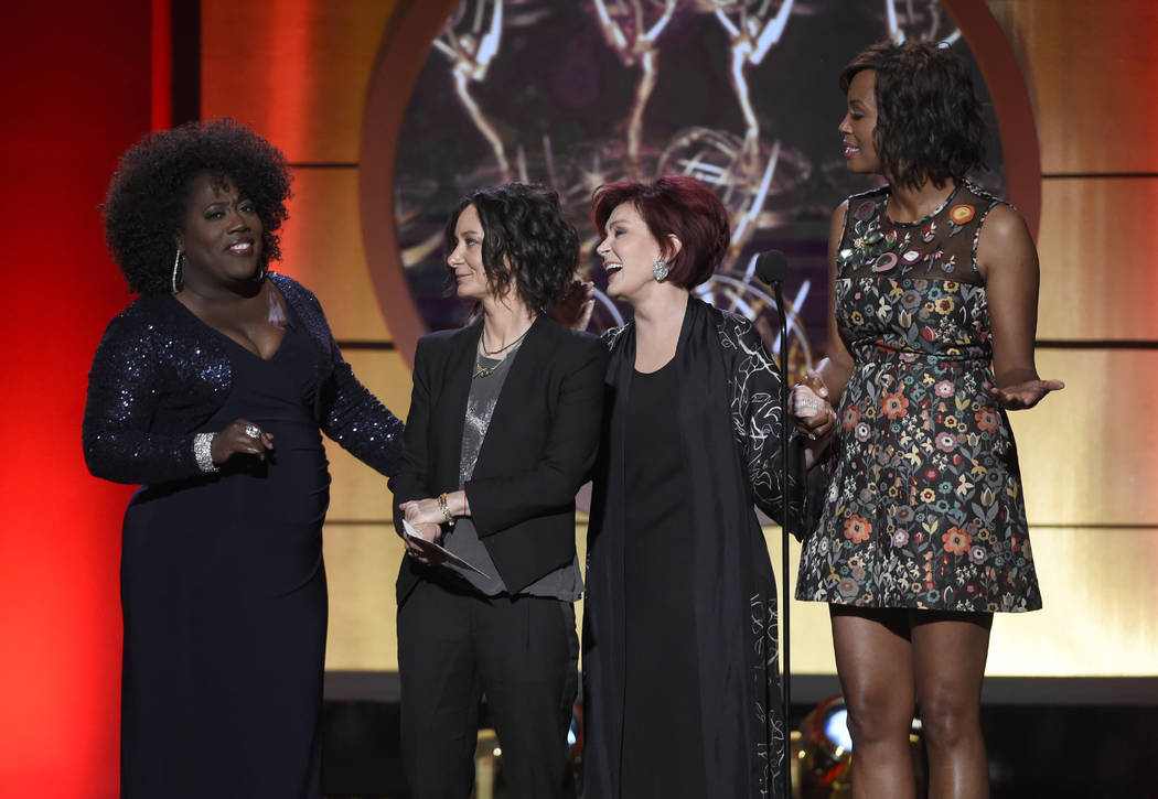 Sheryl Underwood, from left, Sara Gilbert, Sharon Osbourne, and Aisha Tyler on stage at the 44th annual Daytime Emmy Awards at the Pasadena Civic Center on Sunday, April 30, 2017, in Pasadena, Cal ...