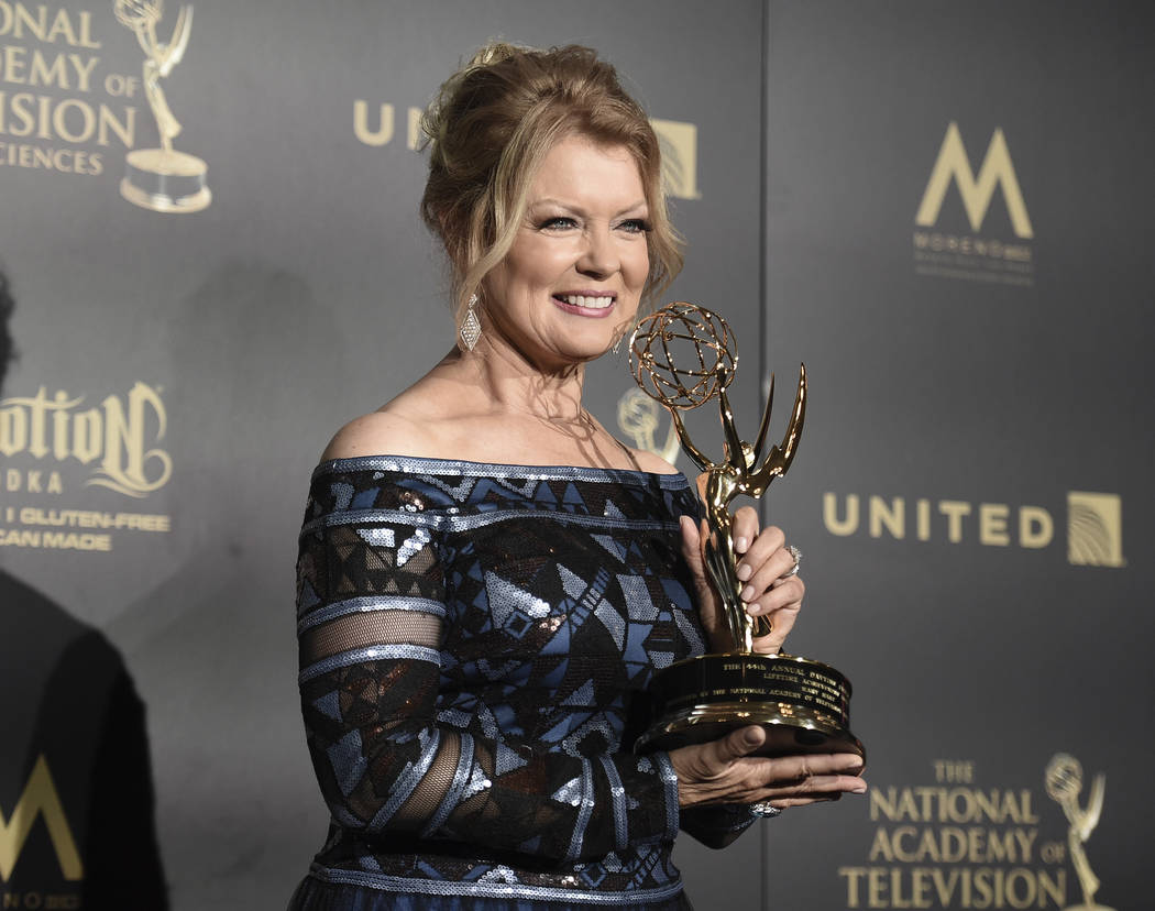 Mary Hart, winner of the lifetime achievement award, poses in the press room at the 44th annual Daytime Emmy Awards at the Pasadena Civic Center on Sunday, April 30, 2017, in Pasadena, Calif. (Pho ...