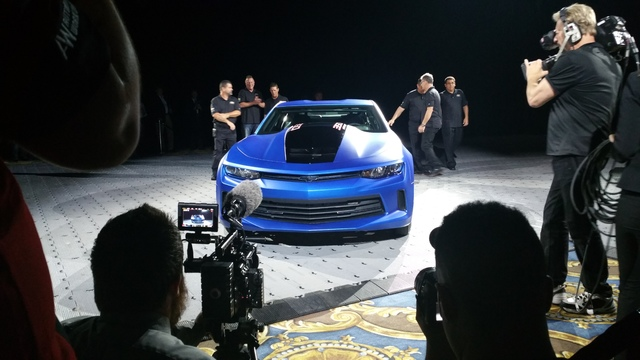 STAN HANEL/DRIVE Chevrolet unveiled A modified Camaro race car during SEMA 2016 that will be auctioned through Barrett-Jackson for SEMA charity organizations.