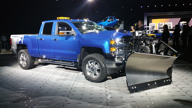 STAN HANEL/DRIVE Chevrolet unveiled an Alaskan package that includes a custom snow plow for Chevrolet Heavy Duty trucks to help drivers motor through the upcoming winter.