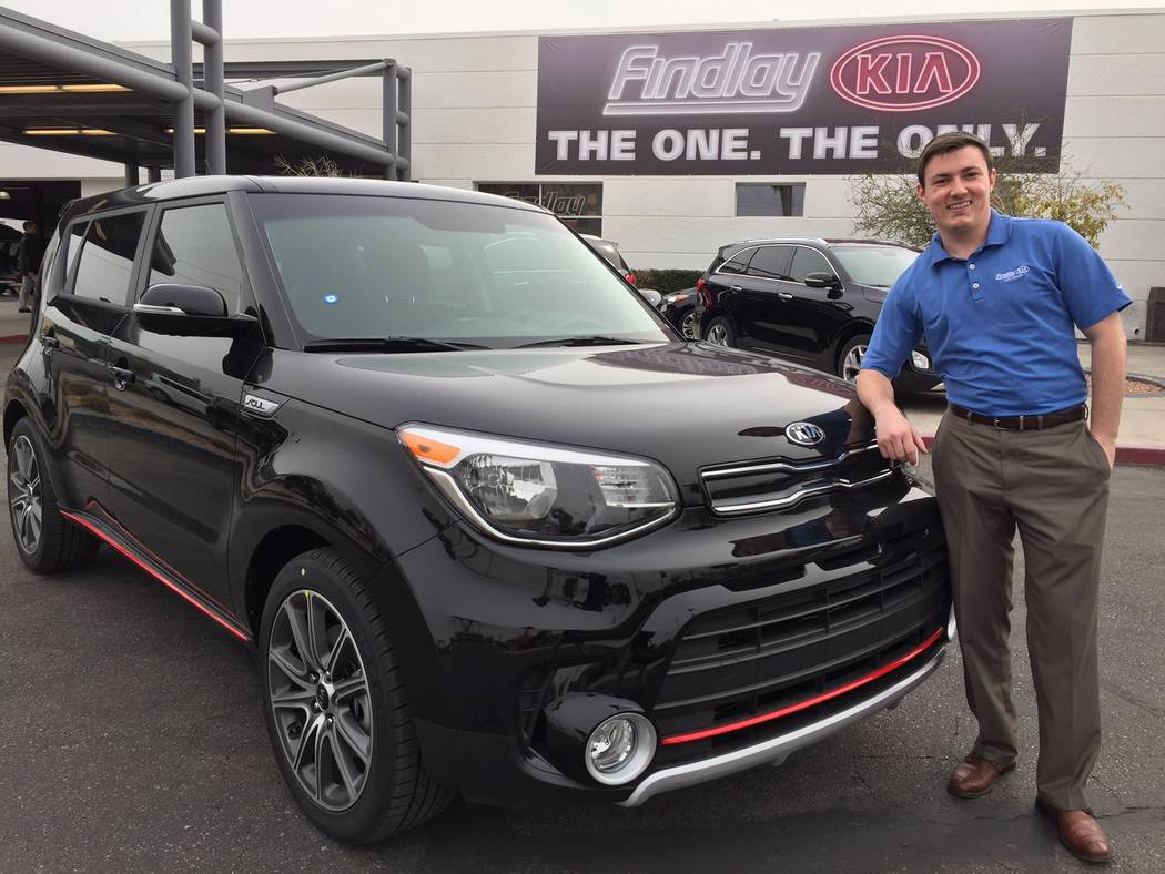 COURTESY Findlay Kia sales and leasing consultant Scott Bier is seen with the popular 2017 Kia Soul Exclaim at the dealership situated at 5323 W. Sahara Ave.