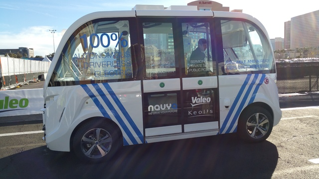 COURTESY STAN HANEL The Navya ARMA is an autonomous electric shuttle bus that will be providing transportation within downtown Las Vegas.