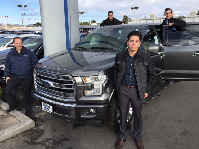 COURTESY Friendly Ford sales consultants, from left, Patrick Voncsazy, Alex Gutierrez, Yovani Lopez and Rob Blankenship showing a 2017 Ford 150 Limited at the dealership situated at 660 S. Decatur ...