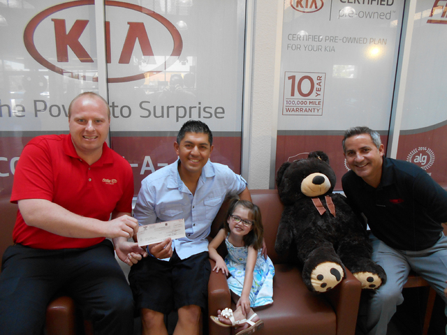 COURTESY Findlay Kia recently donated $3,000 to a special fund for Ava Urrea, a 5-year-old Las Vegas girl who was born with a complex life-threatening heart condition called hypoplastic left heart ...