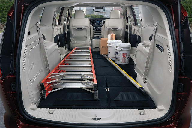 COURTESY CHRYSLER The Pacifica has roughly the same external dimensions and interior room as the Town & Country. As such, Chrysler says the Pacifica holds dozens of sheets of 4x8 building mate ...